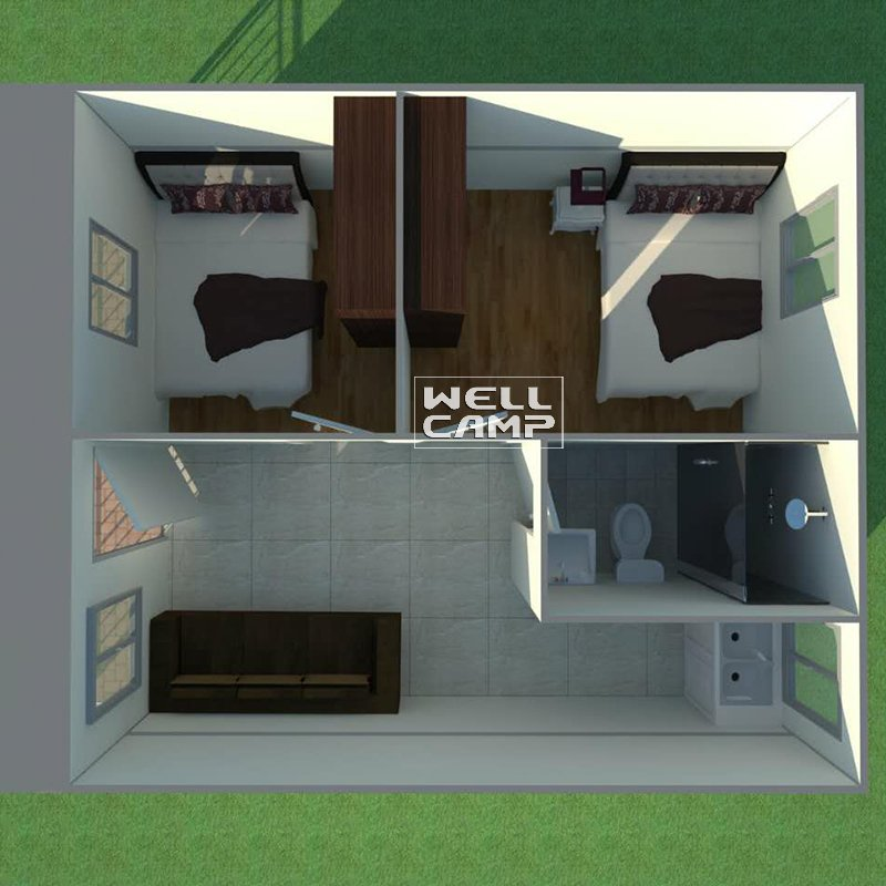 WELLCAMP Easy Installation Kit Two Bedrooms Prefabricated Folding Villa House -V02 Container Villa image44
