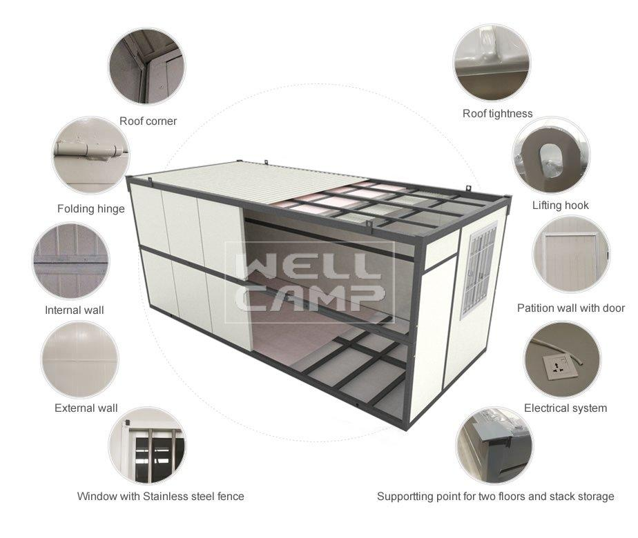 housing cost modern foldable container house WELLCAMP