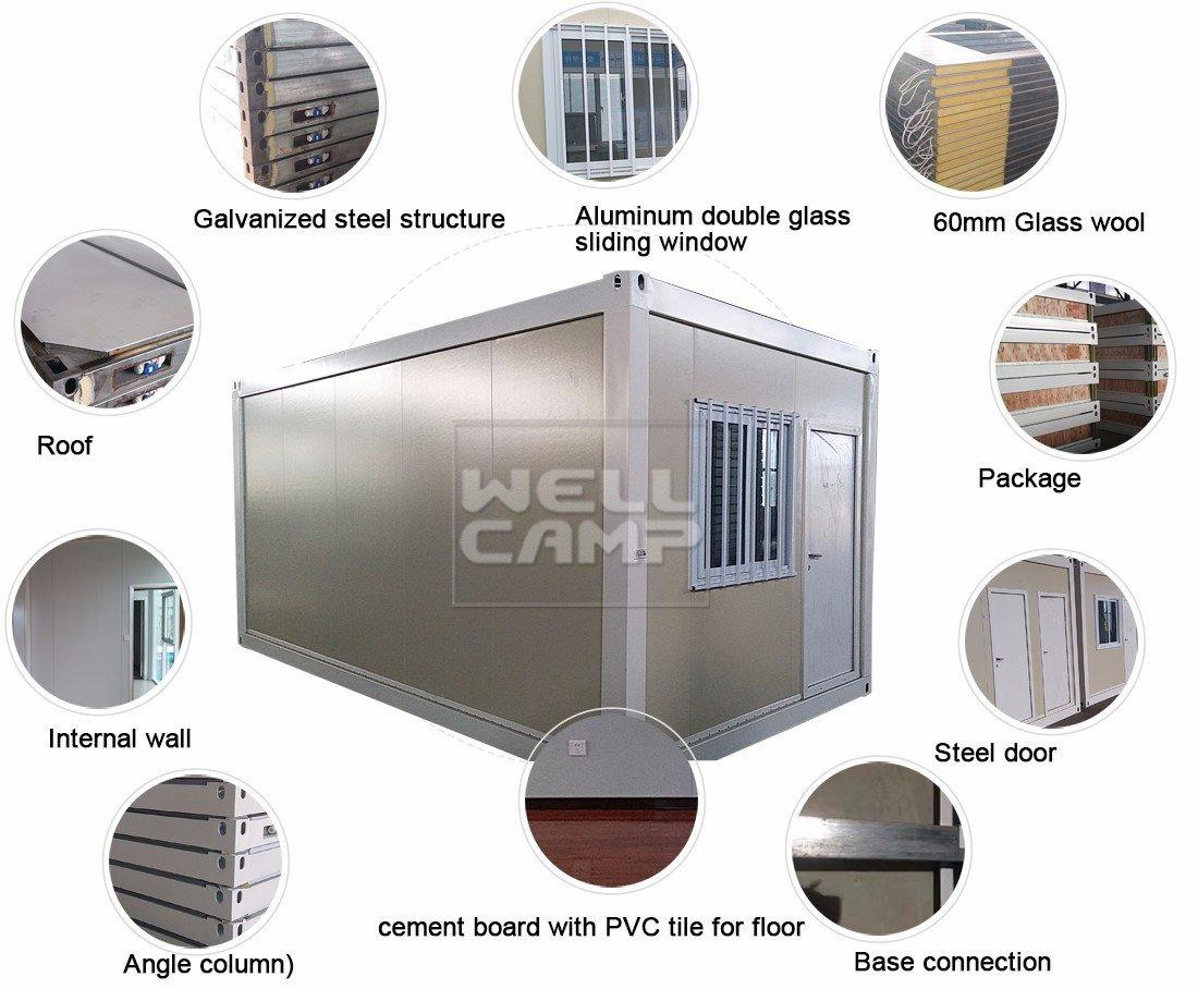 WELLCAMP Brand prefab tiny glass flat pack containers