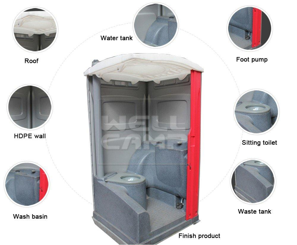 plastic portable toilet color portable chemical toilet WELLCAMP Brand