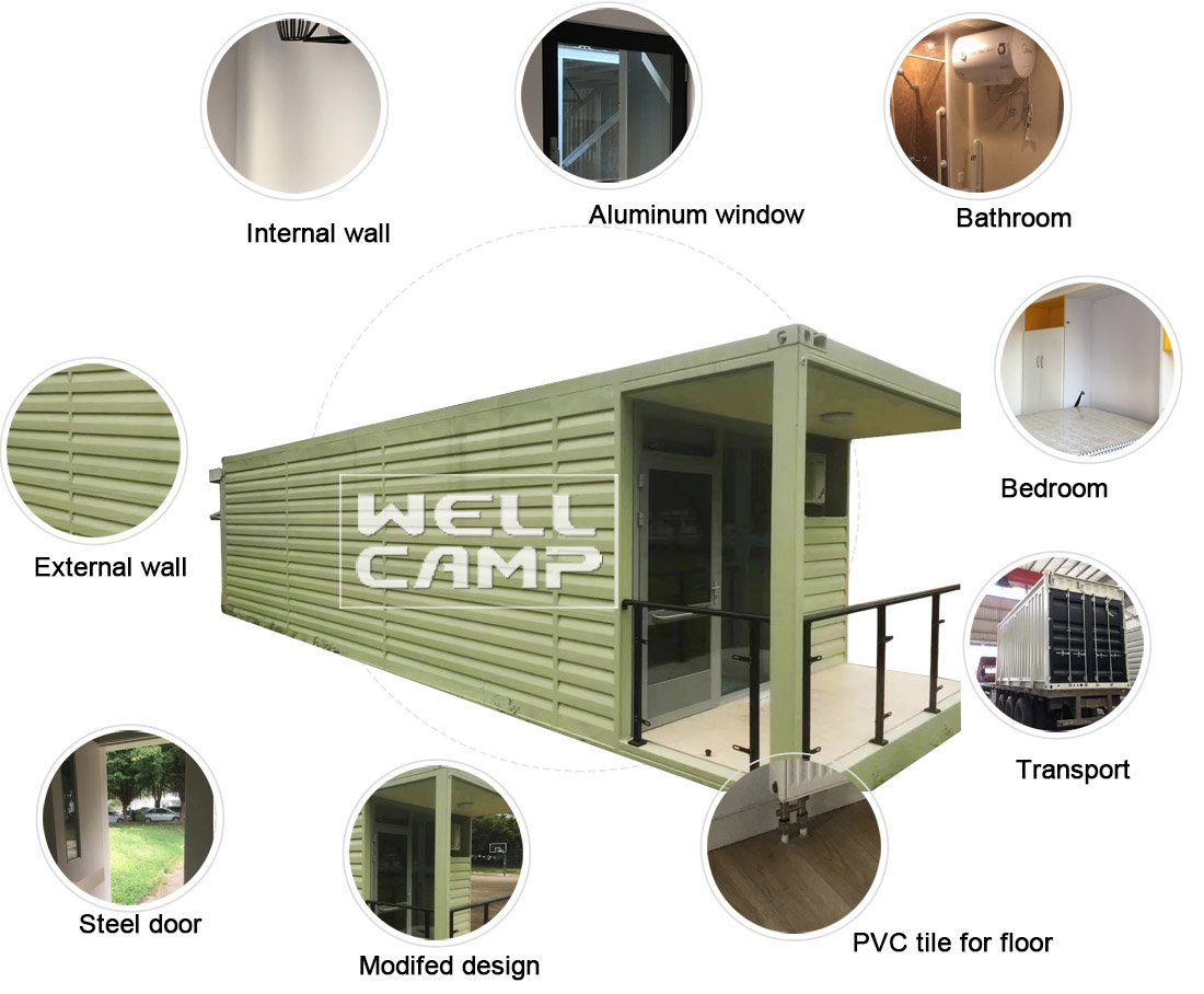 WELLCAMP-20gp Prefabricated Shipping Container House For Holiday Resort -s03 |