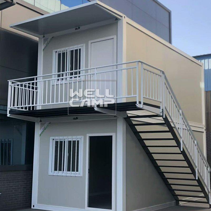 Two Floors Flat Pack Container House with Easy Fixing And Nice Glass Design Affordable Prefab Homes For Sale -P01