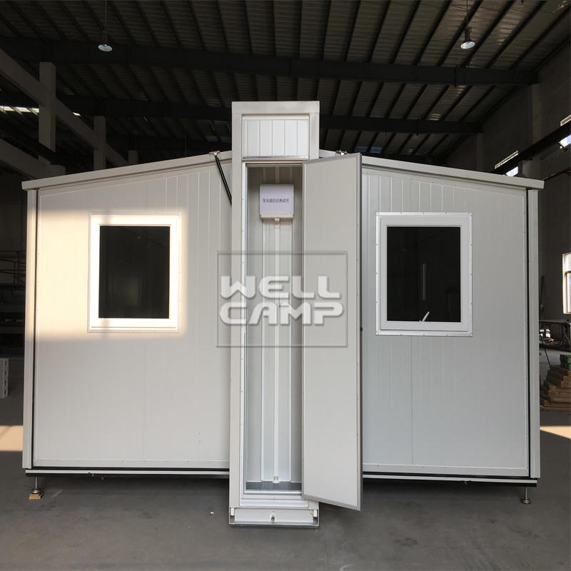 China Wellcamp expandable container house folding container bungalow building 5 mins easy installation