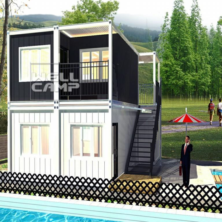 China container homes luxury container villa two levels flat pack container hotel mobile homes for sale