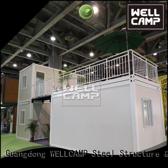 WELLCAMP flat tiny prefab flat pack 20 ft container steel