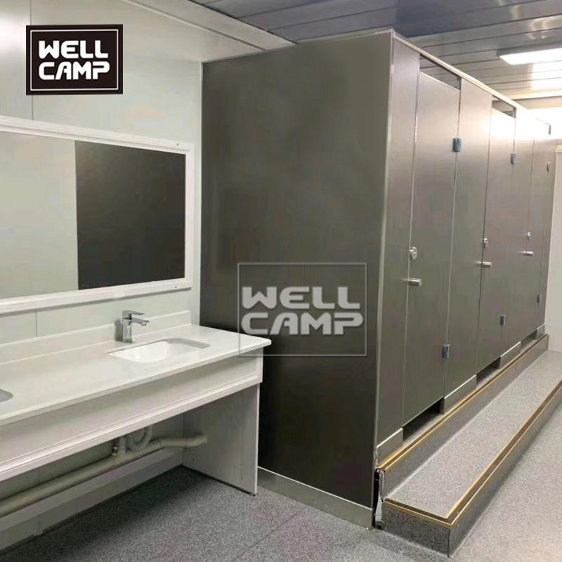 Wellcamp multi function flat pack container house use for office and design the toilet rooms in the building