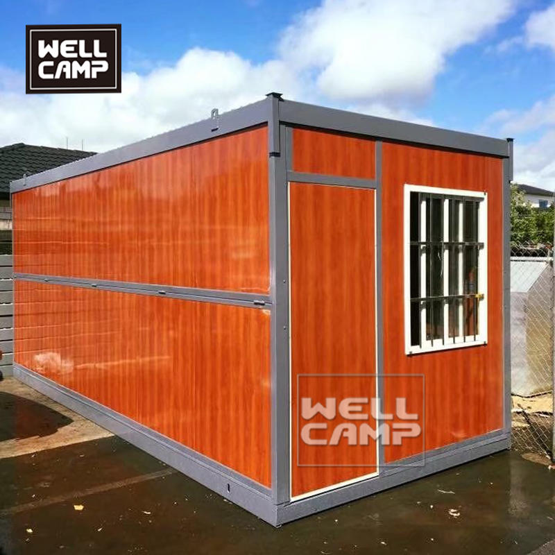 Wellcamp Army Green Folding Container House Shop Project in New Zealand.