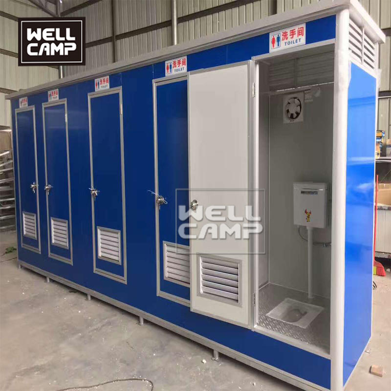 Tiny prefab portable toilet 5 units connection recyclable box for restroom sitting toilet and squatting toilet for sales