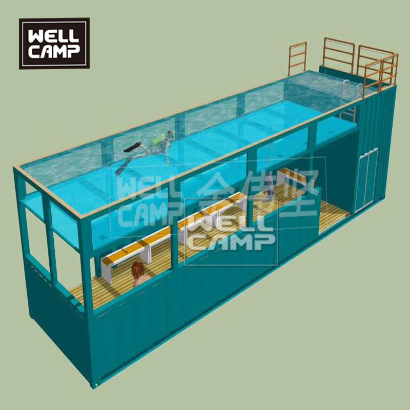 Shipping container swimming pool in prefab houses shipping container home 40 feet high quality steel structure frame